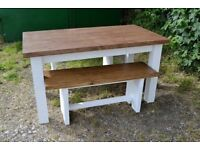 Medium size solid table with two benches