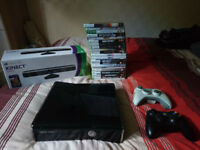Xbox 360 250GB slim in good condition with Kinect and 22 games