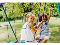 Brand New Plum Jupiter Metal Swing Set Childrens Swing with Double Swing