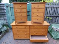 Pine chest of drawers and bed side tables