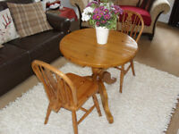 Solid Pine Country Kitchen Table & 2 Chairs