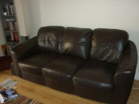 Harveys 3 seater brown leather sofa