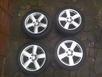 4 - RS6 style alloy wheels. Fit Volkswagen transporter T4. Tyres are 235/50/R18