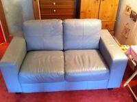Sofa leather 2 seater and armchair IKEA Skogaby