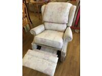 CAN POST Floral White Manual Recliner Fabric Arm Chair Reclining Cream orthopaedic