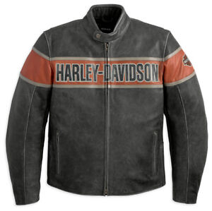 """**NEW**H-D """"Victory Lane"""" leather jacket and """"Skull"""" helmet"""