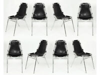 8 x Charlotte Perriand Les Arcs Stacking Chairs. C1970 Manchester UK