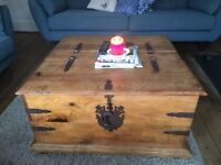 Vintage Antique Wooden Chest Storage Table Living Room Trunk