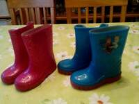 Toddler wellies size 6 two pairs. Frozen. Pibk