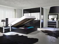 LINCOLN bedroom furniture set. Brand new, modern finished in black and white gloss