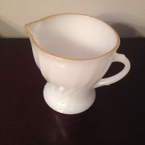 VINTAGE GLASS CREAMER WITH GOLD TRIM