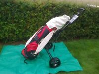 Golfing Equipment, including Bag, Cart and Irons