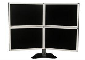 Multi Monitor, Mutli Screen, Tree Stand, Set-UP for Trading, Desktop Tree, Computor, Keyboard