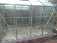 Dismantled 8ft x 6ft Greenhouse with base and window opener.
