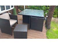 rattan garden table set