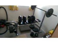 various weights bars and bench not olmpic size plus 10kg weight jacket will split buyer collects