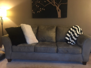 Olive Green Microfibre Sofa and  Loveseat $600 for BOTH