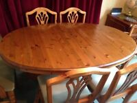 Ducal antique pine dining table & chairs