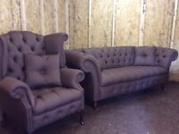 CHESTERFIELD SOFA AND SCROLL BRAND NEW COLOUR BROWN FABRIC £950ono