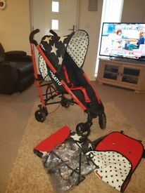 Cosatto giggle allstars pushchair with rain cover, basket, 2 wat liner and cosy toes