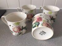4 Tea Cups - Flowers design