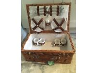 Wicker basket and picnic set for 4