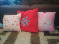 3 Bright Colored cushions