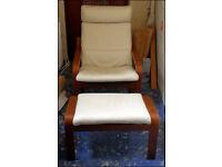 "Armchair + Footstool - Cream leather IKEA ""POÄNG"""