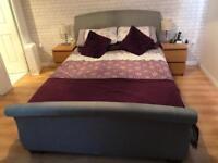 Birlea Barcelona grey sleigh bed king size