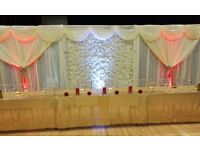 Flower wall £100. Bird cage £5 each. WEDDING BACKDROP £90. 50p chair covers Hire