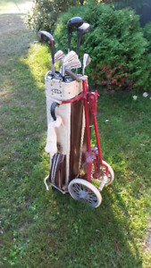 Vintage Golf Bag, Clubs and Shoes