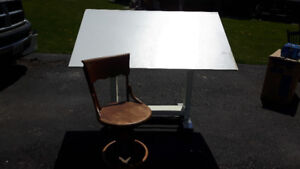 Drafting Table and Antique Chair