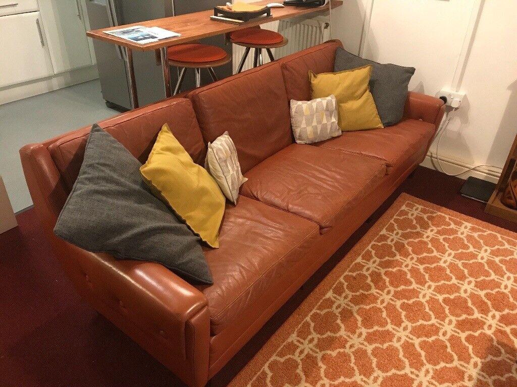 Price Drop Mid Century Leather Sofa