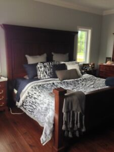 King size duvet cover with shams matching grey throw and pillow