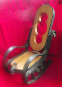 Dolls iron and wood rocking chair