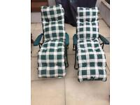 Reclining Sun Loungers with cushions x2
