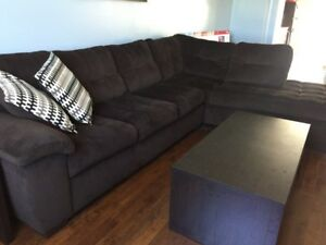 Spacious couch. Year old. With coffee table and End table