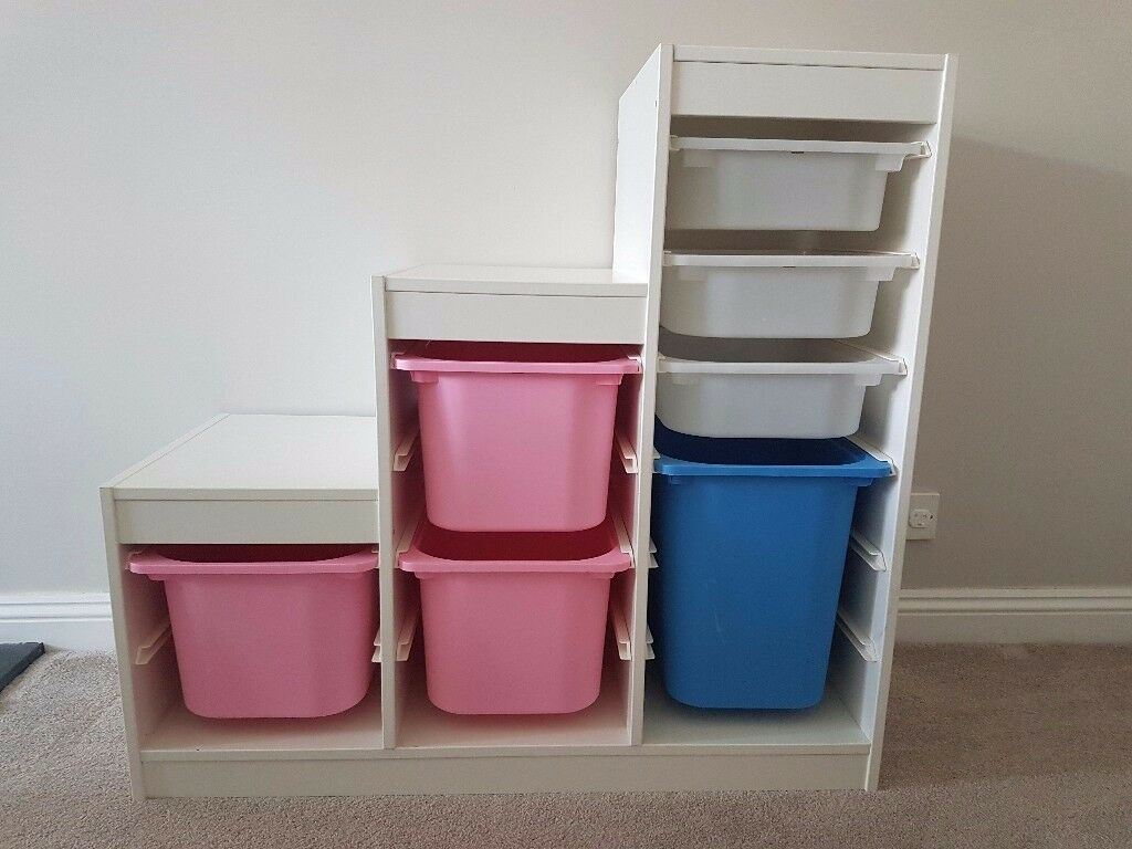 ikea trofast kids white toy storage unit complete with boxes white blue pink in thornbury. Black Bedroom Furniture Sets. Home Design Ideas