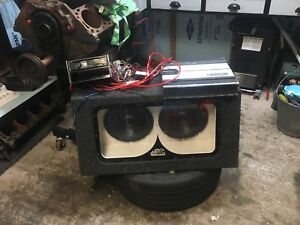 "Dual 10"" subs with box amp and deck plug and play"