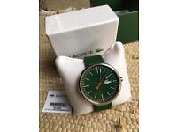 LACOSTE Watch With a Green Rubber Strap And Round Green Dial - New With Tags