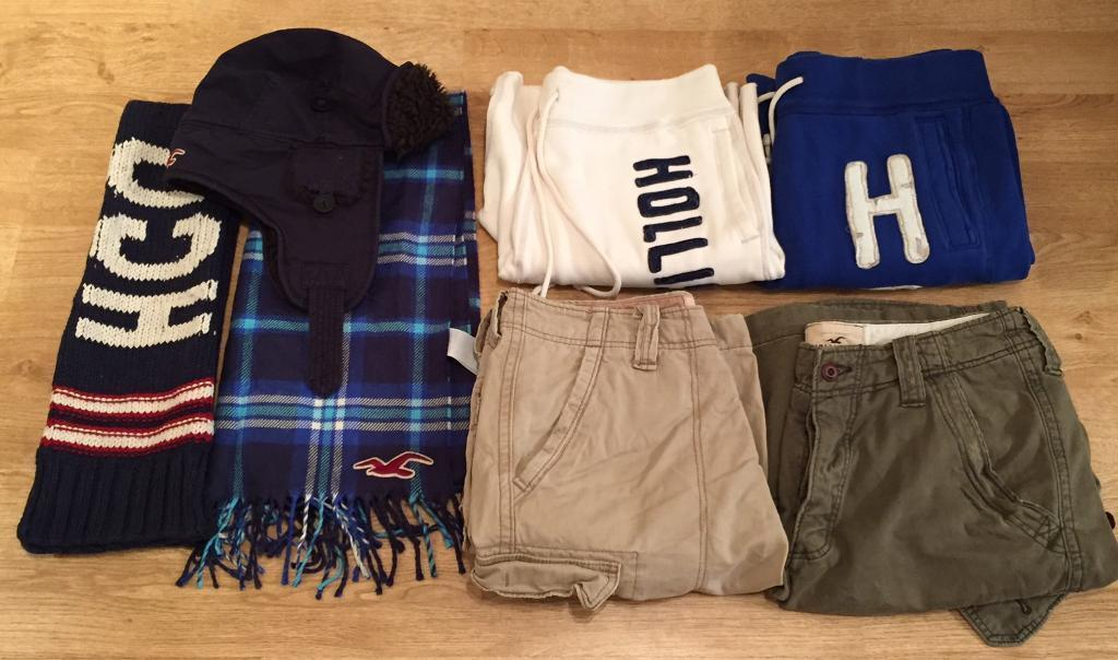 Collection of brand new men's Hollister clothing. Shorts, joggers, a hat and scarves. Size medium