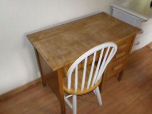 wooden desk with chair