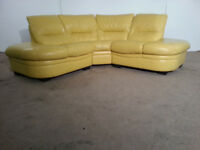Yellow/Cream Leather Corner Sofa - DELIVERY AVAILABLE