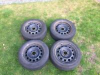 BMW (set of 4) 5 stud 16 inch steel wheels with continental winter tyres 205/55/16
