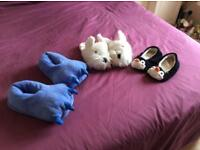 3 pairs of fun novelty slippers. These come in one size and fit Uk size 3-5