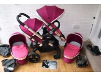 iCandy Peach 3 blossom twin double pram pink Fuchsia with 1 or 2 carrycots CAN POST