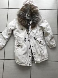 River Island girls cream coat with fur in hood(8 years)