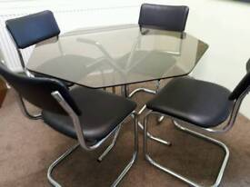 Clear glass dining room table & chairs