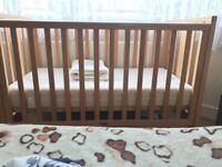 Free Barely used baby kid cot with mattress (120/60cm)
