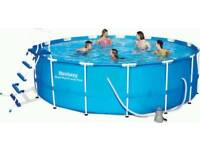 """Bestway 15ft x 48"""" Steel Pro-Frame Above Ground Swimming Pool Set"""